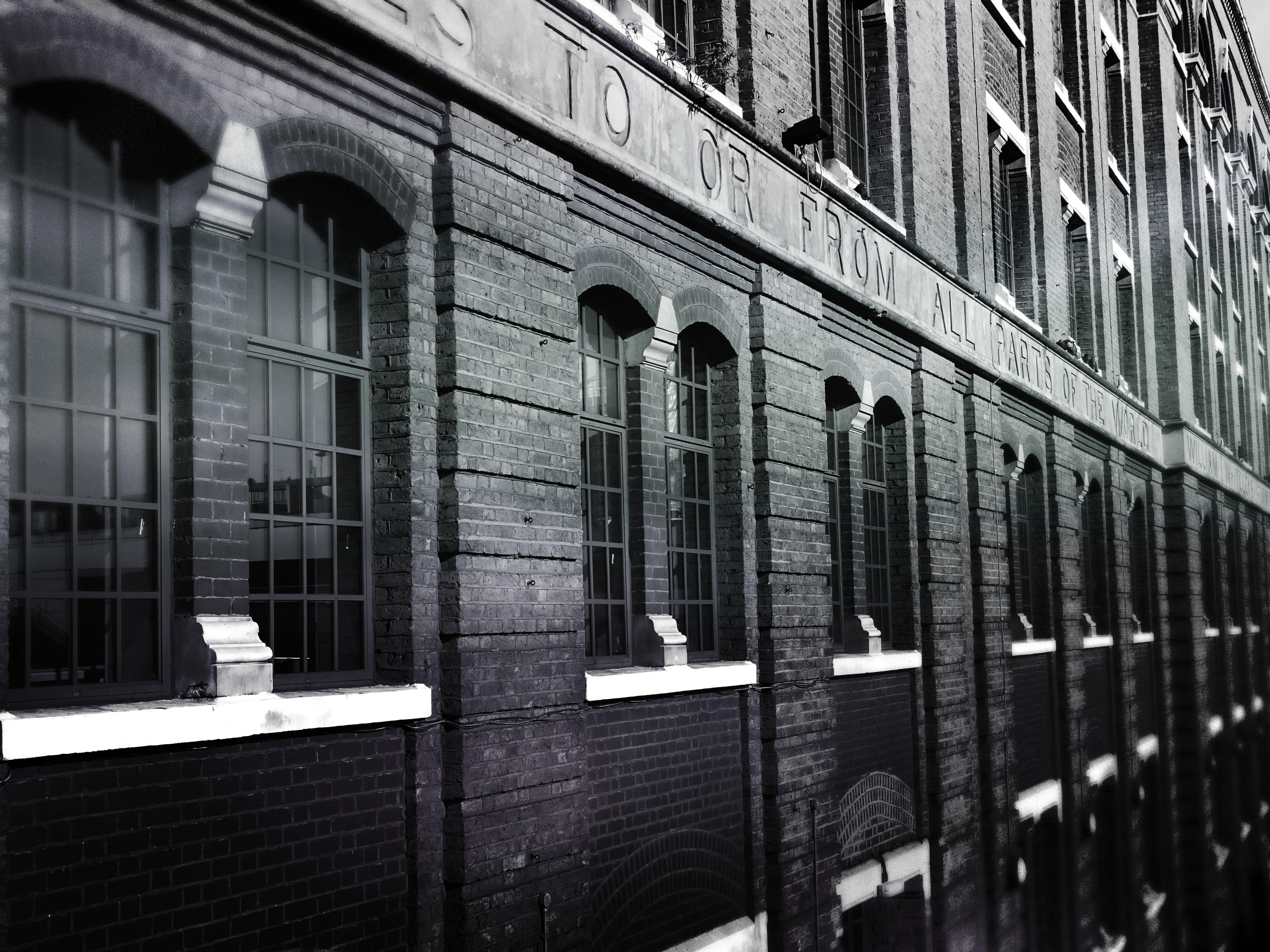 architecture, black and white, bricks