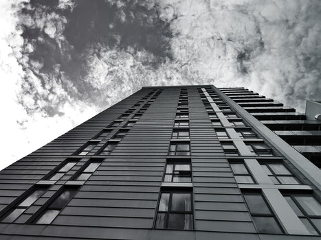 Free stock photo of black-and-white, sky, clouds, building