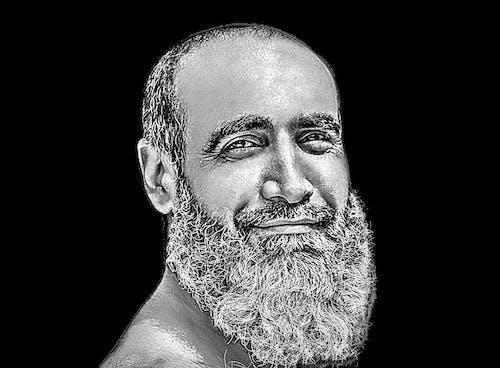 Free stock photo of 4k wallpaper, bearded man, black and white