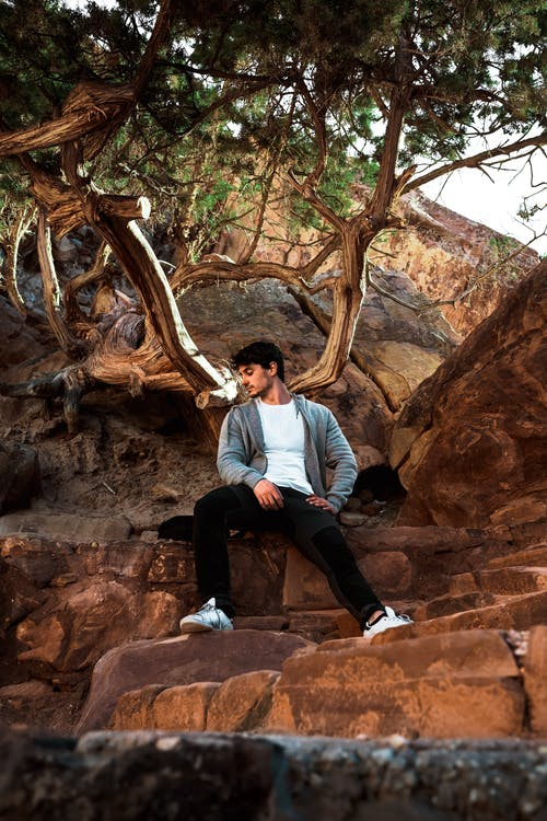 From below of trendy masculine ethnic male sitting on stone near rough mountain under tree in summer and looking away
