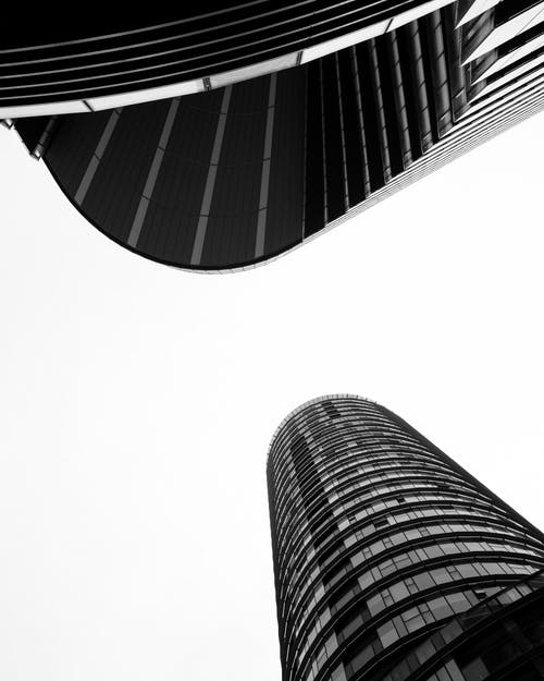Low-Angle Shot of Modern High-Rise Buildings