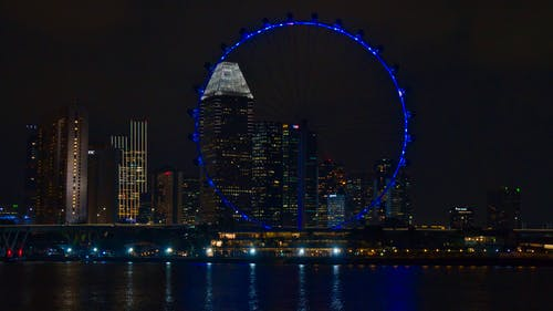 Free stock photo of city, city night, ferris wheel, singapore