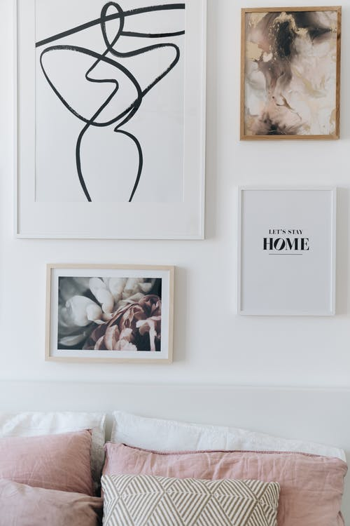 White Wooden Framed Painting on White Wall