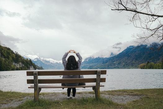 Free stock photo of love, water, girl, mountain
