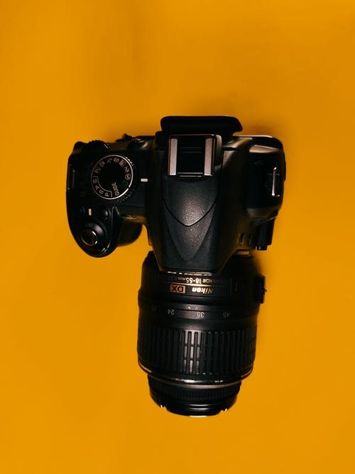 Free stock photo of camera, dslr, top view