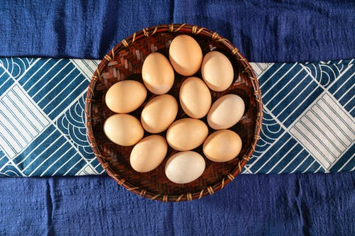 Brown Eggs on Brown Woven Basket