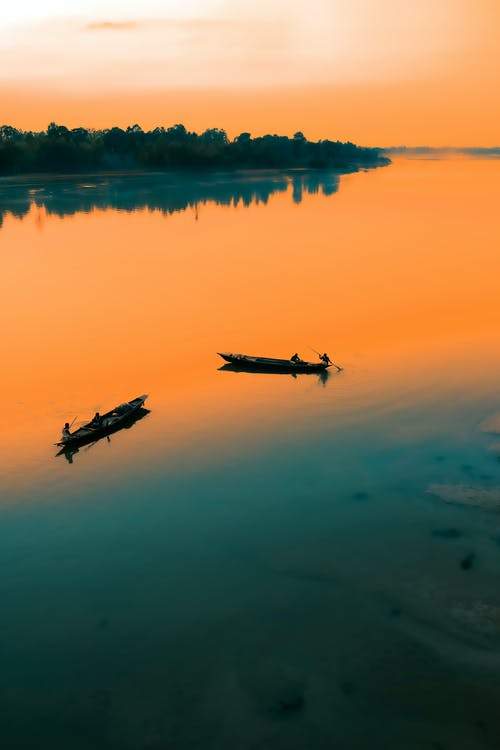 Boats floating on lake surrounded by trees at sundown