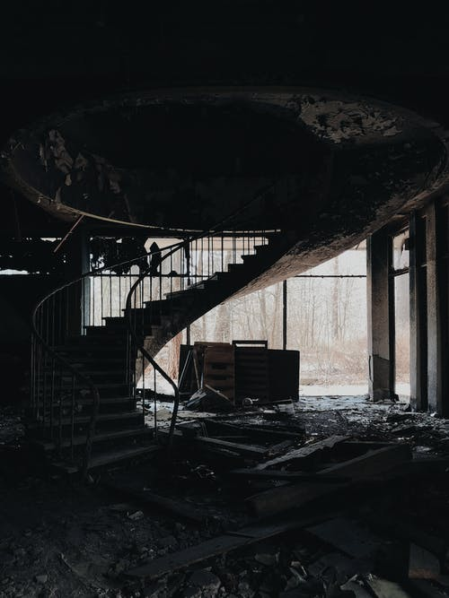 Black Metal Spiral Staircase on Tunnel