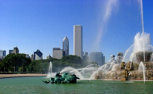 Free stock photo of City Buildings Fountain Day Sky Water