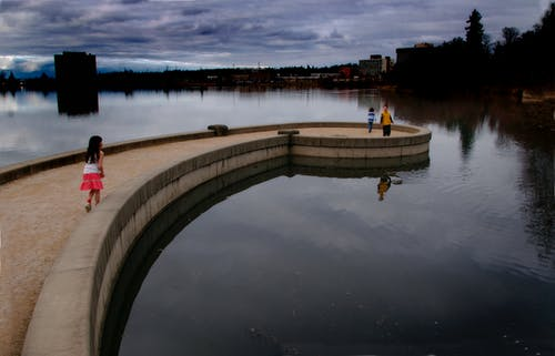 Free stock photo of Girls Boy Children Water Lake Ramp