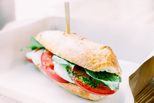 Tasty Italian panini with ripe tomatoes and mozzarella cheese