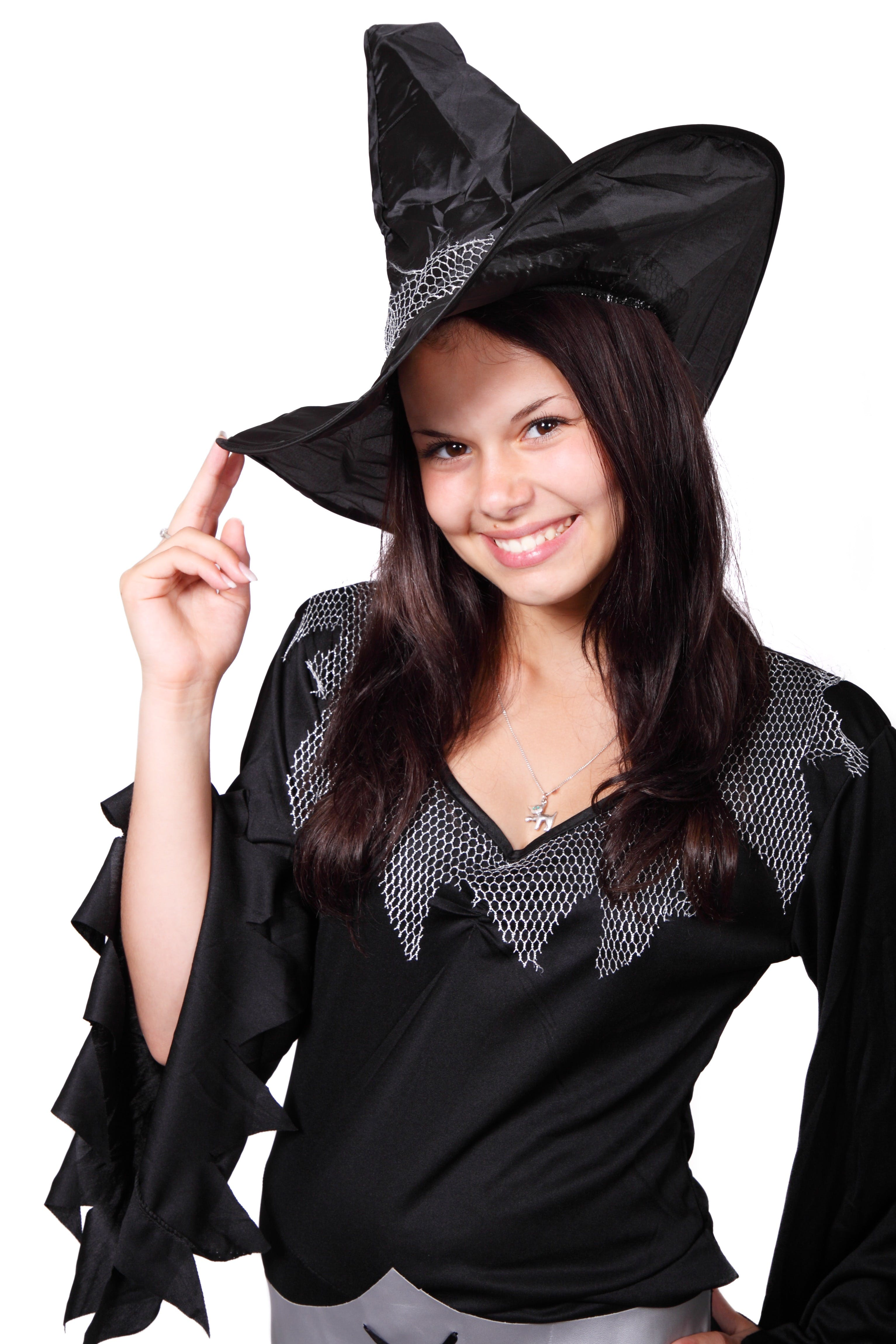 Smiling Woman Wearing Black Witch Costume