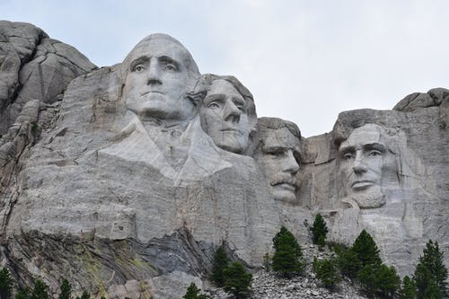 Granite faces of famous politicians carved on mount