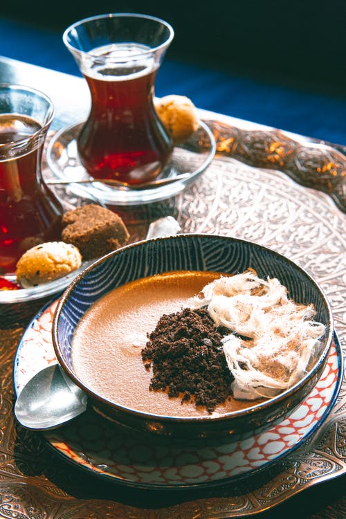Delicious chocolate dessert served with Turkish tea