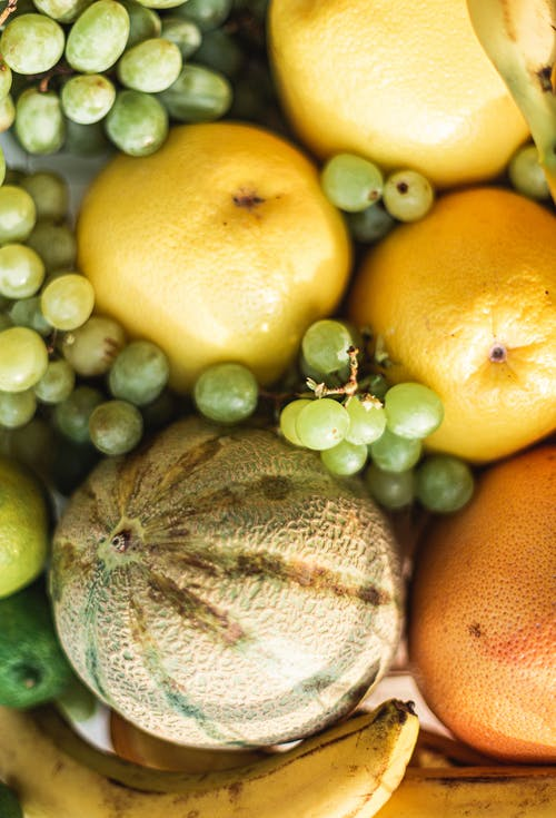 Assorted colorful ripe fruits composition in sunlight