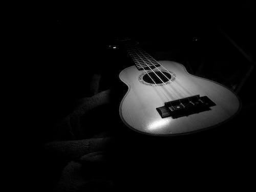 Free stock photo of black and white, guitar, ukulele