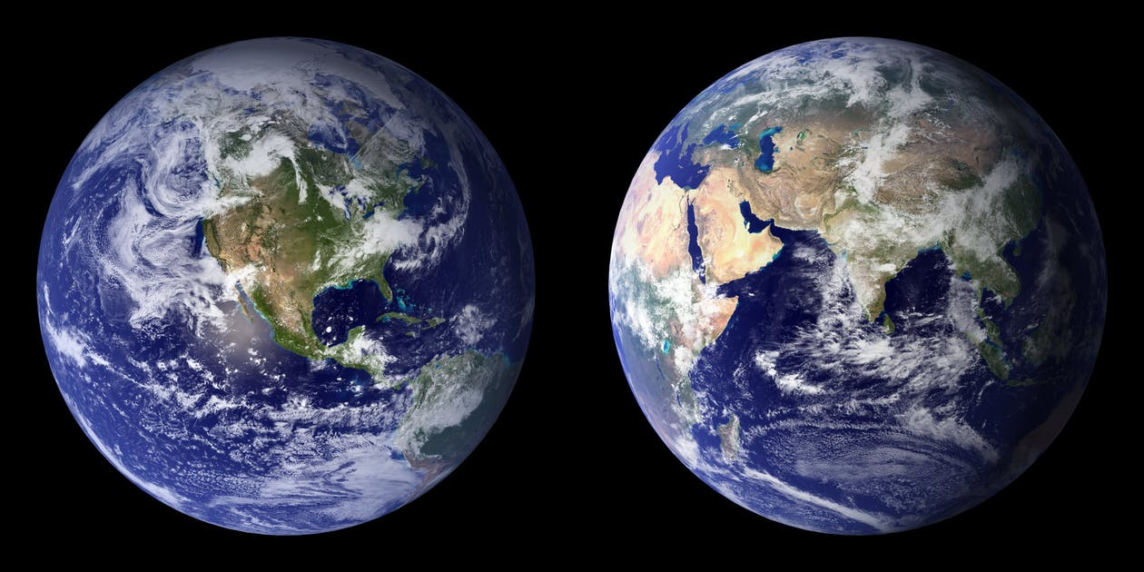 continents, espace, globe