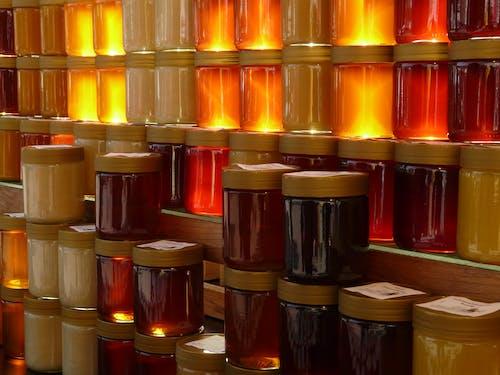 คลังภาพถ่ายฟรี ของ ขวดน้ำผึ้ง, ขวดโหล, ขายน้ำผึ้ง, น้ำผึ้ง
