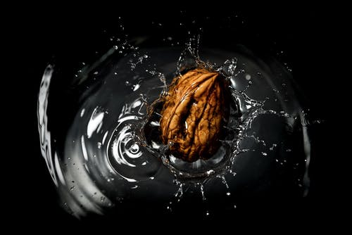 Bright walnut in pure water with splashes