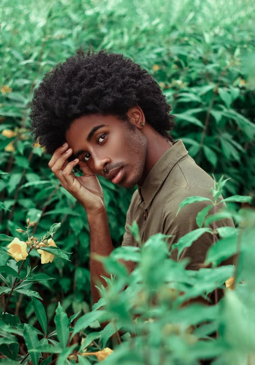 Ethnic man with Afro hairstyle among green shrubs