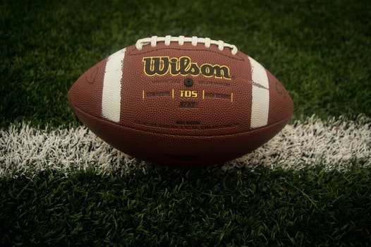 This picture shows an american football manufactured by Wilson lying on a football field. The football has the typical brown and redish color with some white lines painted on it and white laces on the top.