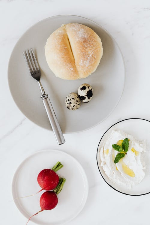 Delicious breakfast with bread and cottage cheese