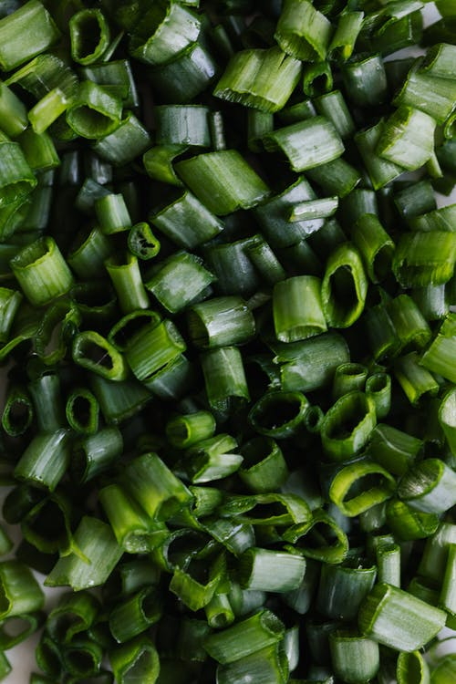 Green onion chopped for meal in kitchen