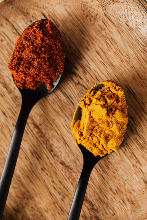 Tablespoons with dry paprika and turmeric