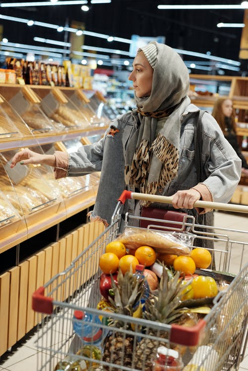 Woman in a Hijab Buying Groceries