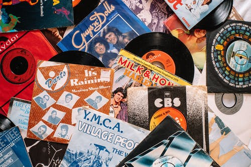 Set of retro vinyl records on table