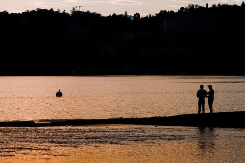 Silhouette of Two People Standing on Seashore During Sunset
