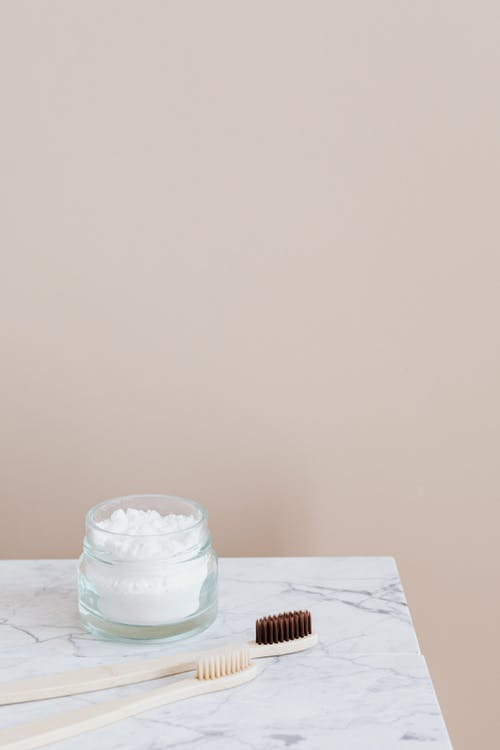 Oral care products on marble table