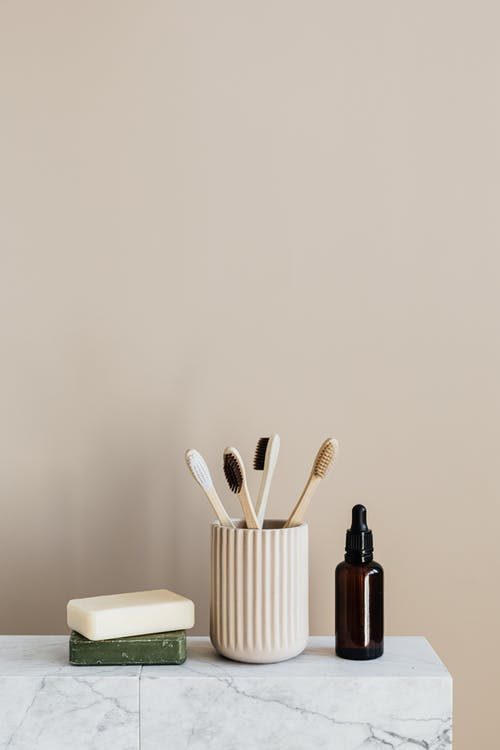 Zero waste organic toiletries on marble table