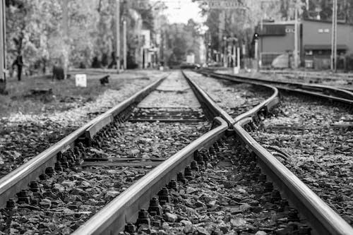Grayscale Photo of Train Tracks