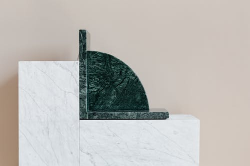 Interior details with marble furniture and bookend