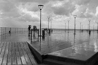 jetty, black-and-white, dawn