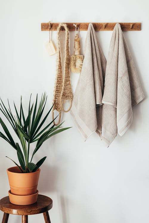 Stylish bathroom interior with houseplant on wooden table against white wall with hanging towels and set of eco friendly body care items