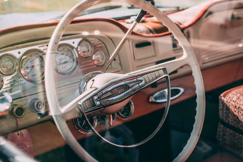Brown and White Steering Wheel