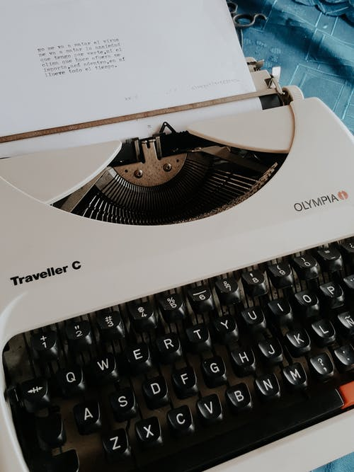 Sheet of paper in typewriter in bright room