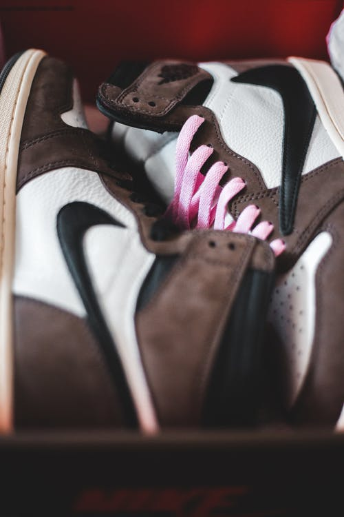New modern sneakers with ornament in box