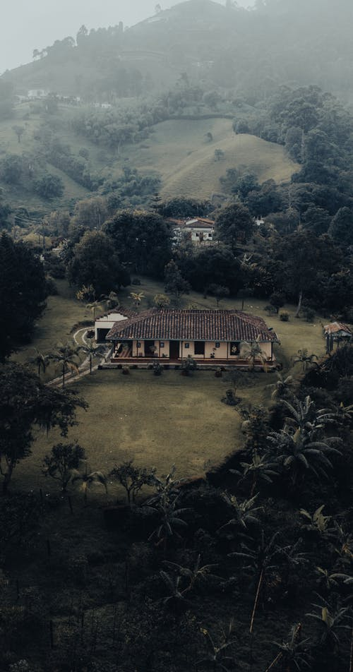 From above of aged building on grass lawn near mount with trees in mist