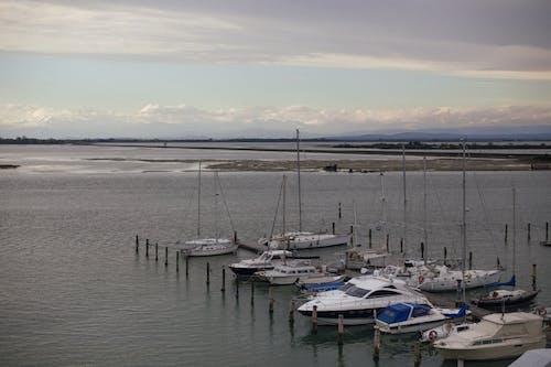 Boats Docked at Sea
