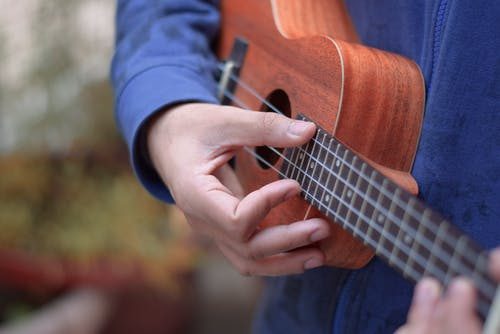 Person in Blue Long Sleeve Shirt Playing Brown Ukulele
