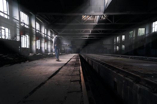 Free stock photo of factory, skateboard, abandoned, boy