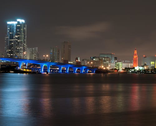 Bridge and Urban City at Nighttime