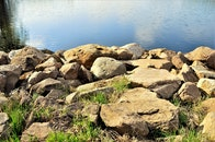 sunny, water, rocks