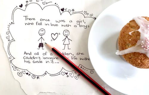 Free stock photo of cupcake, doodle, drawing, heart