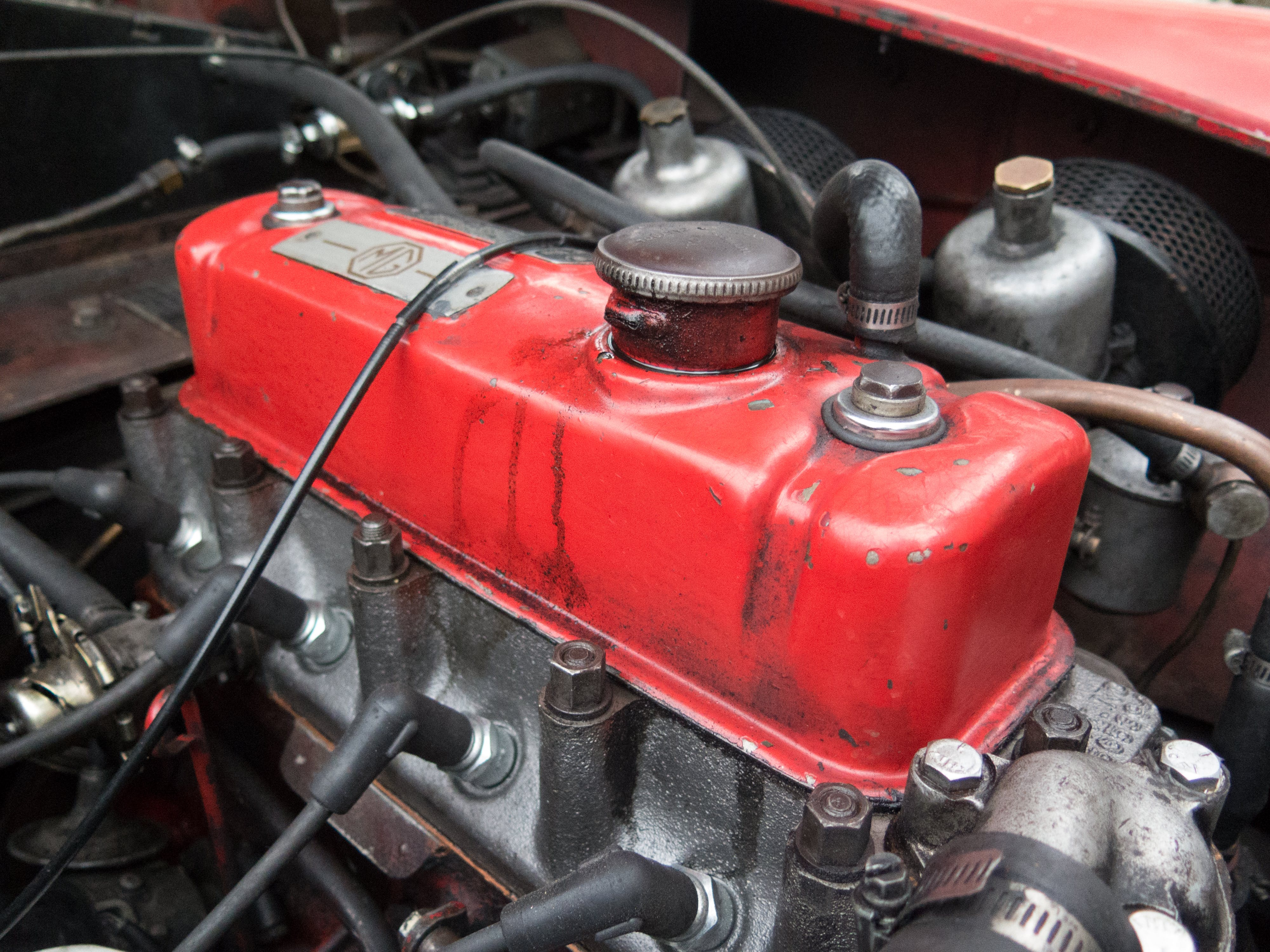 Red and Grey Vehicle Engine