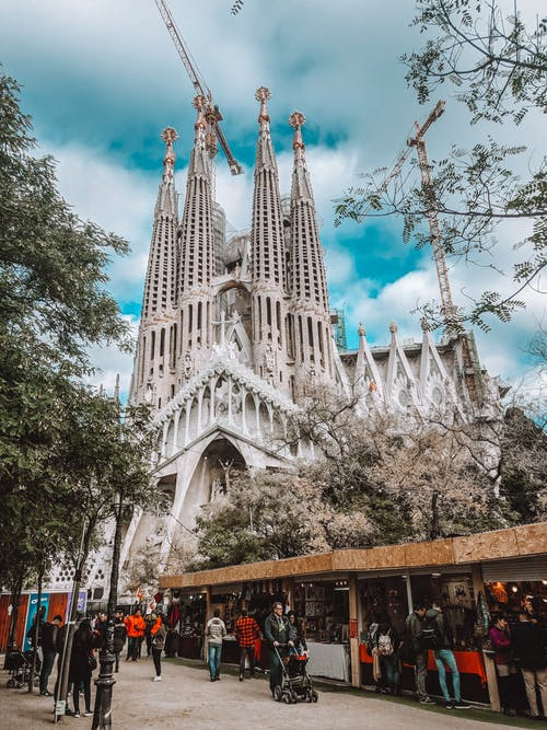 Majestic Gothic cathedral with tall ornamental spikes