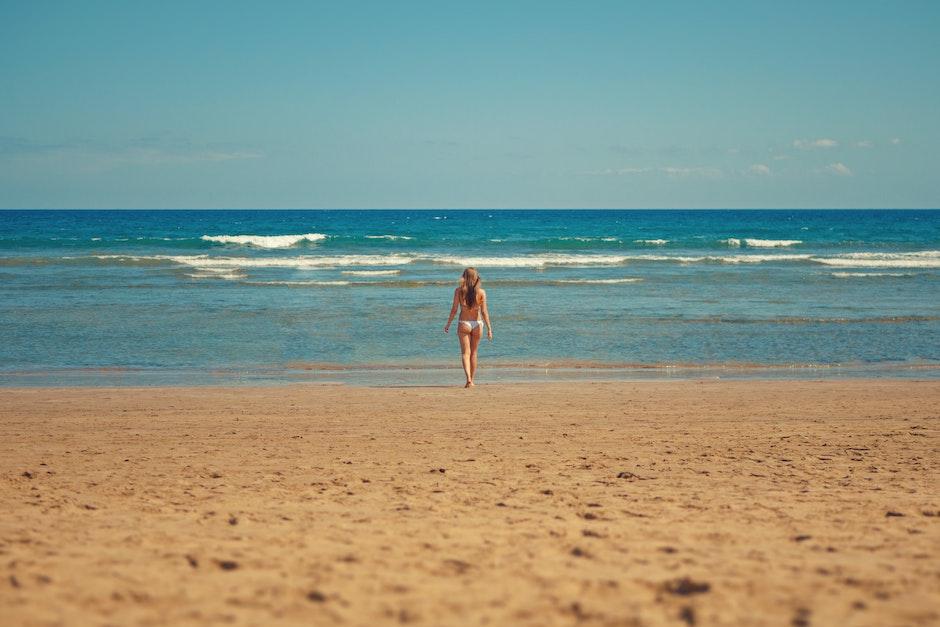 beach, bikini, blue